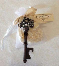 Elegant Wedding favour bomboniere antique style key bottle opener  with white chocolate ELEGANT