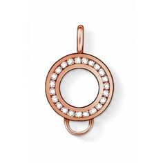 Thomas Sabo Silver Rose Gold Clear Crystal Charm Carrier. A rose gold plated Charm Carrier pavè set with clear crystals, add this to a necklace or bracelet to create a style in your own way, the loop to the base allows for plenty charms of your choice. Model Ref:X0183-416-14
