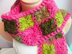 Crochet Pink,Green and Brown Flowery Woolen Scarf ,Elegance Scarf,Women Scarf,Gift İdea,Scarves,Scarf