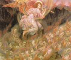 "Evelyn de Morgan (1855-1919), ""Angel Piping to the Souls in Hell"", 1916 *"