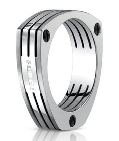 (Aircraft grade Titanium) Benchmark Forge Triangular Titanium fashion ring with Lines. 7.5mm. 325USD