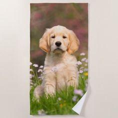 Cute Golden Retriever Dog Puppy Face Animal Photo Beach Towel - dog puppy dogs doggy pup hound love pet best friend