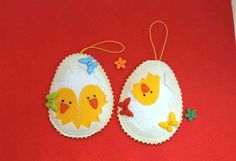 Set 4 Easter 2018 Eggs Decor Felt easter egg ornament Handing Chicken felt Home decor Birds magnets ornaments yellow white Handmade gifts. I used the idea from the Septemberspring site. Cute gift white felt magnet with yellow chick . Handmade decor from colorful felt fabric. Yor can