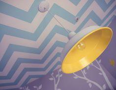 Chevron Ceiling & Reclaimed Barn Light