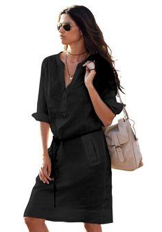 Plus Size Belted Linen Blend Shift Dress