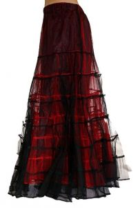 Raven - Long Rara Skirt Black and Red Net Gothic Petticoat