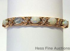 Natural Opal Diamond 14k Gold Vintage 1960s Heavy Oval Bangle Bracelet 20 grams #Bangle