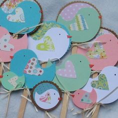 Little Birdie Cupcake Toppers Picks and or Cake Toppers Made to Order. $1.50, via Etsy.