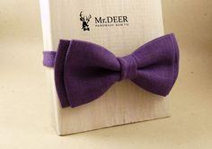 Dark Purple Violet Linen  Bow Tie - Ready Tied Bow Tie - Adult Bow Tie - Mens bowtie - Groomsman, Rustic, Boho Wedding Bow Tie  - Mr.DEER by MrDEERbowtie on Etsy