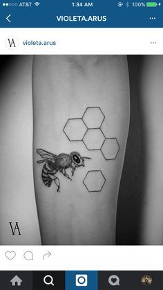 Bee and honeycomb nature tattoo black and grey. Realism.