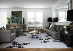 Hawthorn - Large rug by Rugs of Distinction frames the European Oak timber floor and creates a beautiful backdrop for Jardan Furniture.