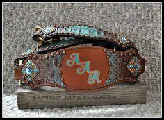 custom halter, turquoise/copper hide with initials