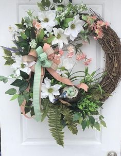"Spring Wreath, Spring Front Door Wreath, Magnolia Wreath, Spring Wreaths, Summer Wreath, Grapevine Wreath Sassy Doors Wreath, Mother's Day Gift, Spring Wreaths For Front door Designed on a 24"" handcrafted Grapevine Wreath Nothing says made in the south quite like magnolias and"