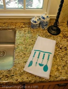 Imparting Grace: Easy, fun DIY kitchen accessories - DIY made with Handmade Charlotte's stencils - click thru for the full craft tutorial! @Handmade Charlotte #folkartmulti
