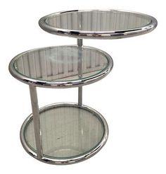 Milo Baughman Style Chrome & Glass Side Table on Chairish.com