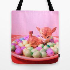 Deer picnic Tote Bag by Vintage  Cuteness - $22.00  #vintage #deer #doe #fawn #bambi #paster #easter #cute #kitsch #kawaii #tote #bag #children #fashion