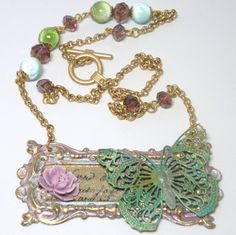 French country necklace - American made brass - pink resin rose - filigree butterfly - Swellegant patina - satin gold chain - Victorian by FireskyeDesigns on Etsy