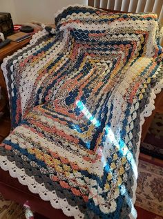 Rectangle shell pattern, Cratsmart yarn from Michaels, color Arizona.