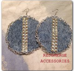 Steampunk Creeper Denim chain& stud earrings chain by reddmerge use code LILDIVA for special discount
