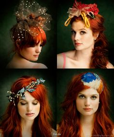 I am inspired. Colorful bridal hair accessories - polka dot veil, hair wreath garland, feather fascinator and other hair accessories.