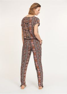 Combinaison pantalon fluide imprimé ethnique coloris unique - Flare, Baggy, Pantalon Large, Jumpsuit, Unique, Dresses, Fashion, Bell Bottoms, Ethnic Print