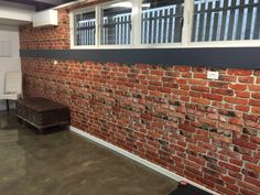 Brick Wallpaper Installation - The Grange, Brisbane using Kemra Wallpaper - Camden Factory Bricks How To Install Wallpaper, Brick Wallpaper, Wallpaper Installation, Wine Cellar, Brisbane, Game Room, Garage Doors, Outdoor Decor, Camden