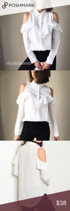 "Olivia ruffle button down shirt. Tasteful Olivia white ruffle cold shoulder shirt. Soft silky top with collar. Size S : bust 36"", length 27"" w:38"". Size M bust 37"", length 27"" w: 39"", size L: bust 38"", length 28, w40"". Follow me on INSTAGRAM: @chic_bomb and FACEBOOK: @thechicbomb CHICBOMB Tops Button Down Shirts"