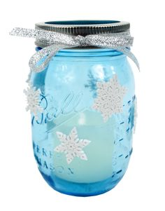 Snowflake Votive Vintage Mason Jar #christmas #craft #masonjar @Stephanie Paterno