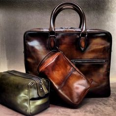 Berluti handpainted luggage. Every piece is a work of art.