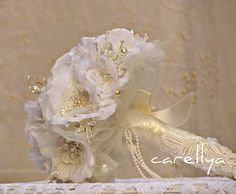 Fabric Jeweled Bridal Bouquet ISABEL Romantic White  Roses with Sparkling Crystals. $169.00, via Etsy.