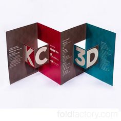 Pop-Out Accordion with Clever Glued Cover Panels from James Printing and Kuhn & Wittenborn (now Trozzolo Communications Group) for Kansas City Chamber of Commerce. Simple cuts across the folds create pop-out boxes. Glued cover and back cover panels reinforce covers and leave the interior to surprise. #college #highered #weddings #design #directmail #digitalprint #events #folding #paper #print #marketing #cards #crafts #brochure #creativity #invitat... Brochure Folds, Brochure Layout, Brochure Design, Paper Design, Book Design, Paper Installation, Company Presentation, Creative Brochure, Company Brochure