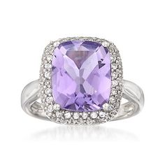 5.00 Carat Amethyst Ring With White Sapphires in Sterling Silver