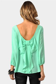 mint waldorf bow blouse
