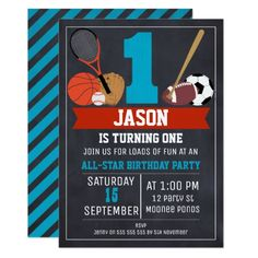 Chalkboard Sports 1st Birthday Party Invitation