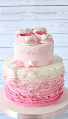 Baby Shoes Cake with Ruffles