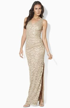 Lauren Ralph Lauren Sleeveless Lace Gown