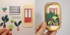 Do this but in a matchbox for Anja? New Crafts, Cute Crafts, Diy And Crafts, Origami, Cut Paper Illustration, Diy Cadeau, Paper Plants, Tin Art, Altered Tins