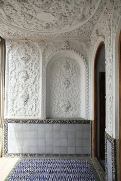 Naranjestan Garden Shiraz    a side entrance with plaster work and geometric tiles