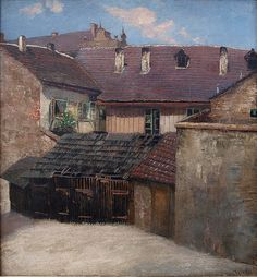 Dvorek na Vyšehradě 1912 - Jan Minařík – Wikipedie Siena, Prague, Old Houses, Landscape Paintings, Cabin, In This Moment, Architecture, House Styles, Places