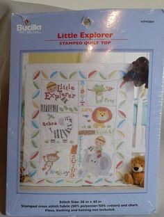 Baby Boy Stamped Cross Stitch Crib Quilt Frog Zebra Monkey Little Explorer New #Bucilla #QuiltTop