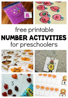 Work on early number skills with fun, hands-on, and free preschool printables! These number activities are just right for preschool math centers or small groups. #FunADay #Math #Preschool #preschoolers