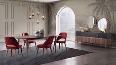 Sıra dışı ve cazibesi yüksek bir tasarım: MONTANA - Maison Française Montana, Oversized Mirror, Dining Chairs, Cabinet, Interior Design, Modern, Table, Furniture, Home Decor