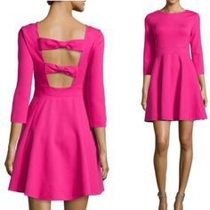 ✨3xHost Pick✨kate spade ponte flirty back dress Authentic kate spade new york dress in sweetheart pink ponte. Bateau neckline; cutout bow back. Three-quarter sleeves and pockets! Swingy skirt. Hidden side zip. 68% Viscose/28% nylon/4% spandex. Dry clean. kate spade Dresses Long Sleeve