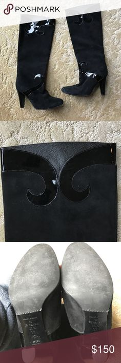 Té Casan NY Limited Edition Black Suede Boots Té Casan NY Limited Edition Black Suede Heeled Boots. Black patent detailing. Excellent condition. Te Casan Shoes Heeled Boots