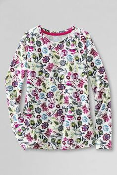Girls' Long Sleeve Pattern Gathered Shoulder Tee from Lands' End
