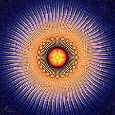Enjoy vibrant movement with this Central Sun Mandala art. The piece features an orange sun with small rays that move … Mandala Art, Mandalas Drawing, Sun Mandala, Mandala Meditation, Guided Meditation, Art Soleil, Sun Art, Illusion Art, Sacred Art