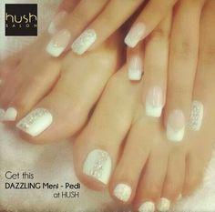 Hush Salon Dubai Nail Art Gel French Manicure Pedicure swarovski white lifestyle bride bridal wedding party beauty spa parlour glitter dazzling crystal clean