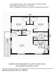 Garage apartment plan 6015 has 728 square feet of living for 24 x 24 apartment layout