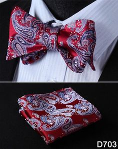 Paisley Floral Stripe 100%Silk Jacquard Woven Men Butterfly Self Bow Tie BowTie Pocket Square Handkerchief Hanky Suit Set #D7