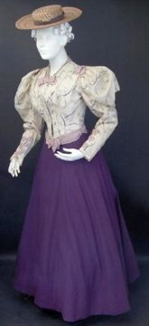 FC0345 Original outfit created from printed wool bodice made from 1880s dress, and purple wool skirt, American, c. 1893